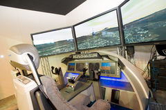 De vluchtsimulator van Boeing in Singapore Airshow Stock Afbeeldingen