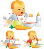 De voeding van de baby, stevig voedsel, mi Royalty-vrije Stock Afbeelding