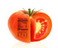 De voedingsfeiten van de tomaat Stock Afbeeldingen