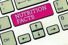 De Voedingsfeiten van de handschrifttekst Conceptenbetekenis Gedetailleerde informatie over de voedingsmiddelen van het voedsel stock afbeelding