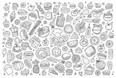 De voedselkrabbels overhandigen getrokken schetsmatige vectorsymbolen Royalty-vrije Stock Afbeeldingen