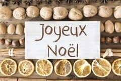 De voedselvlakte legt, Joyeux Noel Means Merry Christmas royalty-vrije stock fotografie