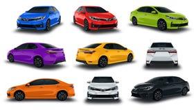 De Voertuigen Nieuwe Auto van de inzamelingssedan Kleurrijk op witte achtergrond Stock Afbeeldingen