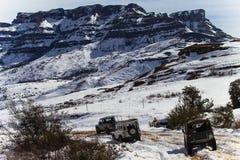 De Voertuigen van de Sneeuw van bergen 4x4 Royalty-vrije Stock Fotografie