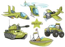 De voertuigen vectorreeks van het beeldverhaal groene militaire leger stock illustratie