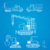 De voertuigenblauwdruk van de bouw Stock Foto's
