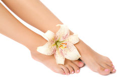 De voet van de vrouw met leliebloem Royalty-vrije Stock Fotografie