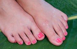 De voet van de vrouw in schoonheidsbehandeling Royalty-vrije Stock Afbeelding