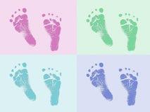 De voetaf:drukken van de baby Stock Foto's