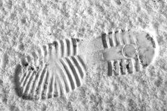De voetafdruk van de sneeuw Stock Fotografie