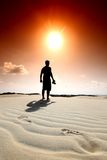 De voetafdruk van de woestijn Stock Foto's