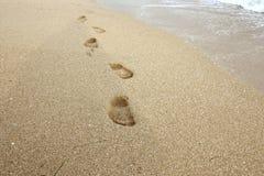 De voetafdrukken op het natte zand Stock Fotografie