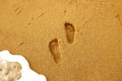 De voetafdrukken op het natte zand Royalty-vrije Stock Foto
