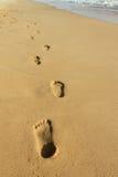 De voetafdrukken op het zand bij het strand van Phu Quoc Stock Afbeelding