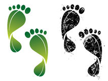 De voetafdrukken van de koolstof en van eco Royalty-vrije Stock Afbeeldingen