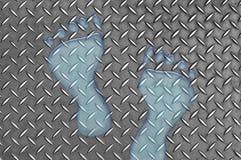 De Voetafdrukken van het water op Metaal Royalty-vrije Stock Afbeeldingen