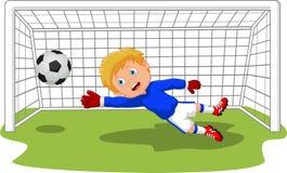 De voetbal goalie bewaarder die van het beeldverhaalvoetbal een doel bewaren Royalty-vrije Stock Afbeeldingen