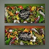 De Voetbal horizontale banners van beeldverhaal vectorkrabbels Royalty-vrije Stock Afbeeldingen