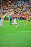 De Voetbal Team Cross Into The Bax van China Stock Fotografie