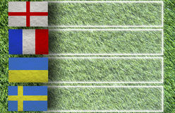 De Voetbal van de plasticine op gras Stock Afbeeldingen