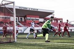 De voetbal van Gibraltar - Europa v Europa Def. van het de Kopkwart van de Puntrots Stock Afbeelding