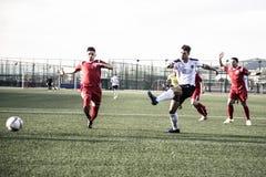 De voetbal van Gibraltar - Europa v Europa Def. van het de Kopkwart van de Puntrots Royalty-vrije Stock Fotografie