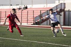 De voetbal van Gibraltar - Europa v Europa Def. van het de Kopkwart van de Puntrots Royalty-vrije Stock Afbeeldingen