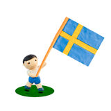 De Voetbal van het kind met de vlag Royalty-vrije Stock Foto