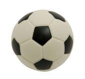 De voetbal van het stuk speelgoed op een witte achtergrond. Foto. Stock Foto