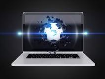 De voetbal vernietigt laptop Royalty-vrije Stock Fotografie