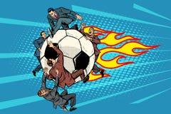 De voetbal vliegt als een meteoor de concurrentie van politici stock illustratie