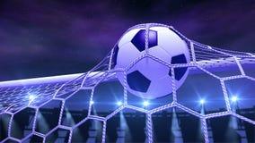 De voetbal vliegt langzaam in het doel vector illustratie