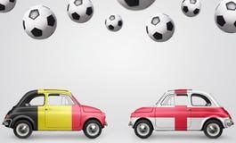 De voetbalauto's van België en van Engeland Stock Afbeeldingen