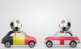 De voetbalauto's van België en van Engeland Stock Foto