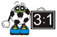 De voetbalbal houdt het scorebord met de score vector illustratie
