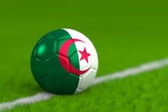 De voetbalbal met Algerijnse 3D Vlag geeft terug Stock Afbeeldingen