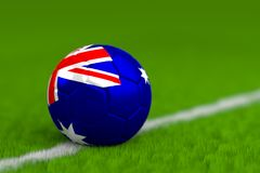De voetbalbal met Australische 3D Vlag geeft terug Stock Afbeelding