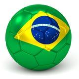 De voetbalbal met Braziliaanse 3D Vlag geeft terug Stock Foto