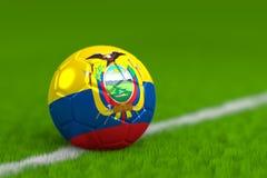 De voetbalbal met Ecuadoriaanse 3D Vlag geeft terug Stock Afbeeldingen