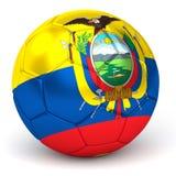 De voetbalbal met Ecuatoriaanse 3D Vlag geeft terug Stock Foto