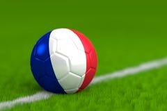 De voetbalbal met Franse 3D Vlag geeft terug Royalty-vrije Stock Foto