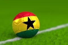 De voetbalbal met Ghanese 3D Vlag geeft terug Stock Afbeeldingen