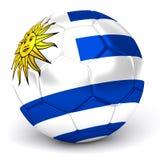 De voetbalbal met Uruguayan 3D Vlag geeft terug Stock Foto's