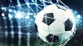 De voetbalbal noteert een doel op het net het 3d teruggeven Stock Afbeelding