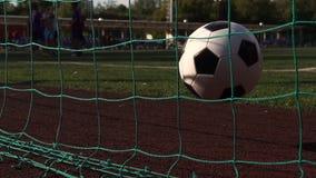 De voetbalbal raakt poorten Groene grasspeelplaats stock video