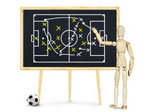 De voetbalbus verklaart de strategie voor spel Stock Fotografie