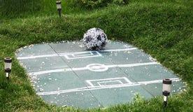De voetbalgebied van de landschapsdecoratie met bal van bloemen Stock Foto's