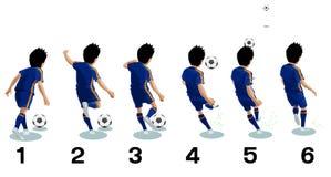 De voetballer schopt de bal (voetbal) - vectorillustratie royalty-vrije stock afbeelding