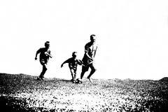 De voetballers van het silhouet Stock Afbeelding