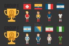 De voetbalpictogrammen groeperen E-F royalty-vrije illustratie